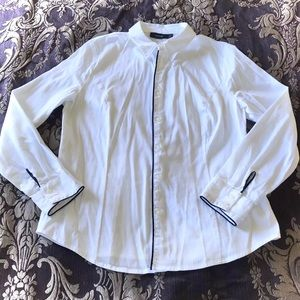 Apt 9 White Black Trim Button Down Shirt Blouse PM